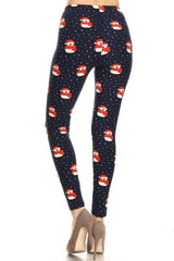 Navy Snow Penguin Design Leggings leggings- Niobe Clothing