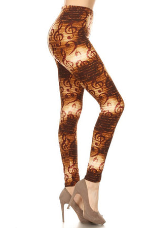 Bronze Musical Notes Leggings leggings- Niobe Clothing