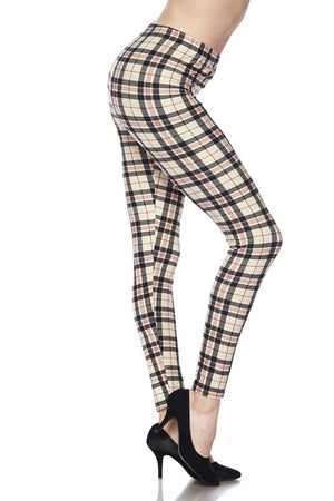 Khaki Tartan Design Leggings