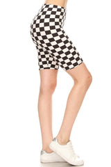 Black White Check Biker Shorts leggings- Niobe Clothing
