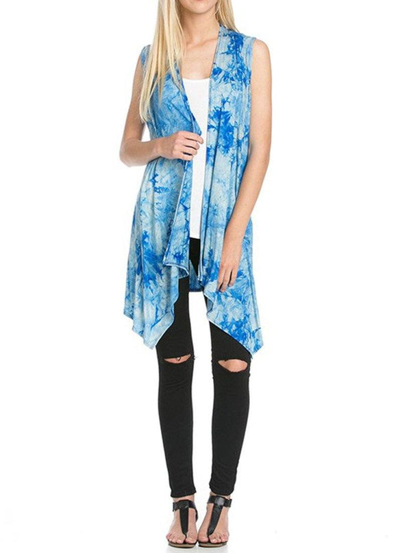 Patterned Sleeveless Asymmetric Hem Open Front Cardigan (Sky Blue Tie Dye) Cardigans- Niobe Clothing