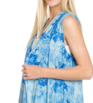 Patterned Sleeveless Asymmetric Hem Open Front Cardigan (Sky Blue Tie Dye)