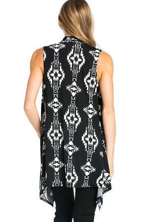 Patterned Sleeveless Asymmetric Hem Open Front Cardigan (Black Tribal Aztec)