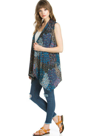 Patterned Sleeveless Asymmetric Hem Open Front Cardigan (Peacock Prism)