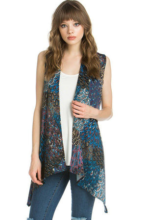 Patterned Sleeveless Asymmetric Hem Open Front Cardigan (Peacock Prism)-Cardigans-Niobe Clothing