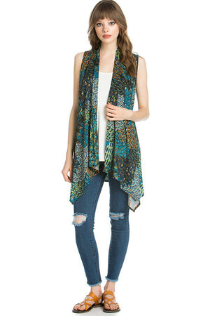 Patterned Sleeveless Asymmetric Hem Open Front Cardigan (Peahen Prism)