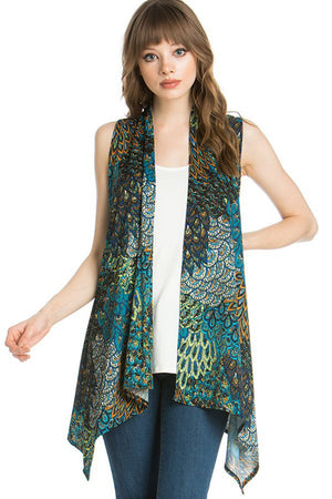 Patterned Sleeveless Asymmetric Hem Open Front Cardigan (Peahen Prism)-Cardigans-Niobe Clothing