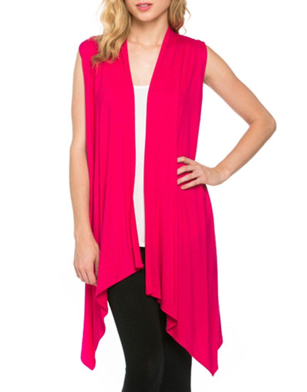 Solid Color Sleeveless Asymmetric Hem Open Front Cardigan (Fuchsia) Cardigans- Niobe Clothing
