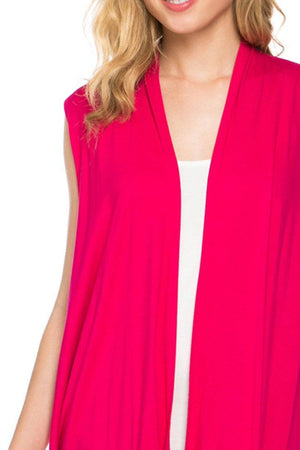 Solid Color Sleeveless Asymmetric Hem Open Front Cardigan (Fuchsia) - Niobe Clothing - 1
