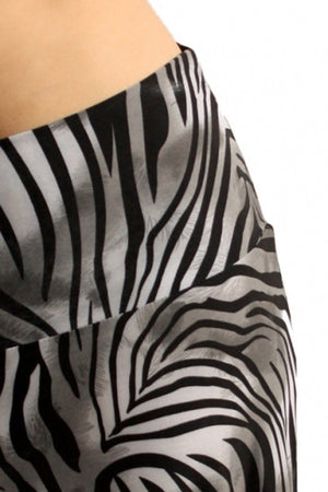 Animal Print Striped Full Length Banded Waist Foldover Maxi Skirt (Striped Grey Tiger) Skirts- Niobe Clothing