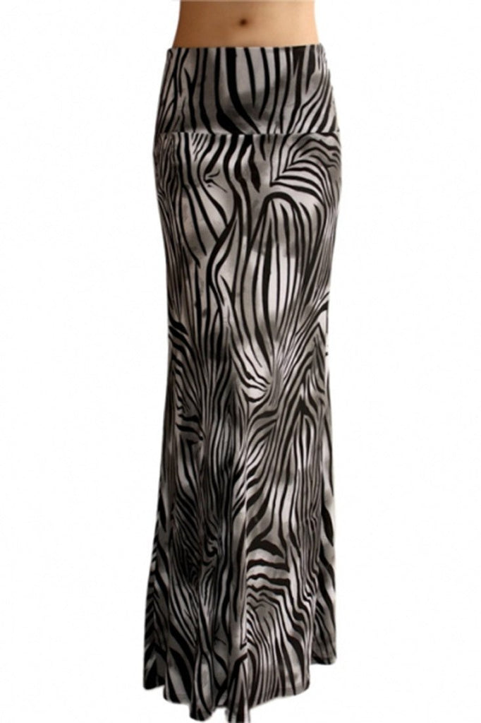Animal Print Striped Full Length Banded Waist Foldover Maxi Skirt (Striped Grey Tiger)