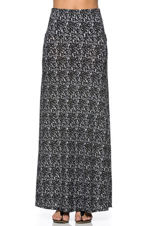 Graphite Printed Maxi Skirt Skirts- Niobe Clothing