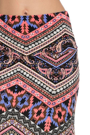 Pink Purple Tribal Aztec Printed Maxi Skirt