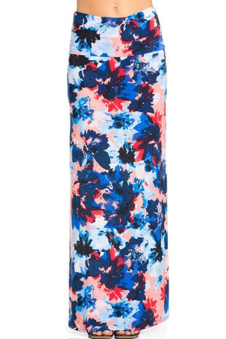 Lively Floral Printed Maxi Skirt