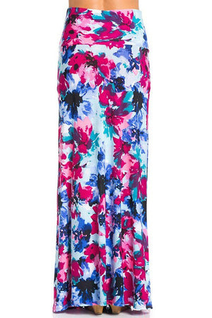 Multicolor Floral Printed Maxi Skirt