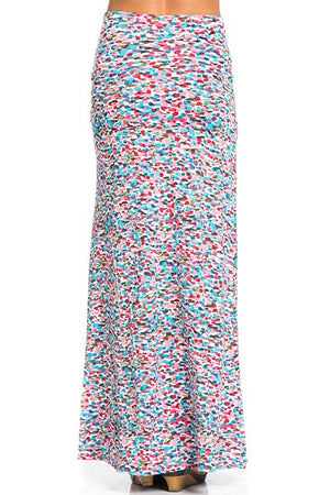 Pink/Blue Watercolor Impression Printed Maxi Skirt