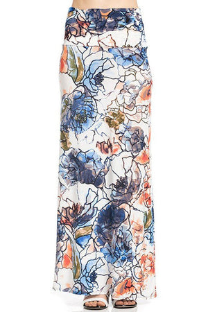 Light Mosaic Floral Printed Maxi Skirt