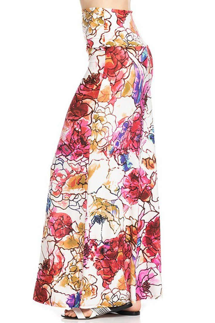 Sunset Mosaic Floral Printed Maxi Skirt