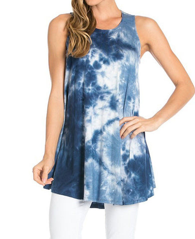Sleeveless A-line Tank Tunic (Bermuda Triangle)