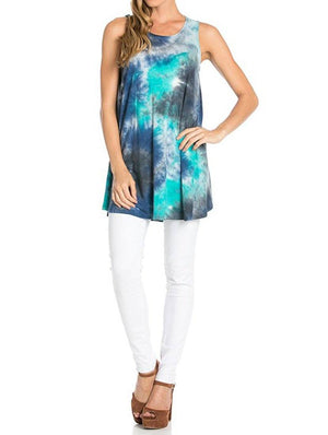 Sleeveless A-line Tank Tunic (Oceanic Waters)