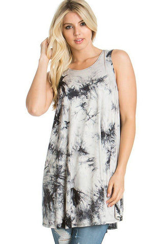 Sleeveless A-line Tank Tunic (Shadow Tie Dye)