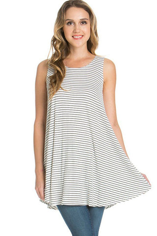 Sleeveless A-line Tank Tunic (Black White Stripes)