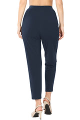 Pleated High Rise Elastic Waist Ankle Pants w/ Pockets