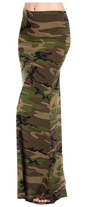 Army Printed Maxi Skirt Skirts- Niobe Clothing