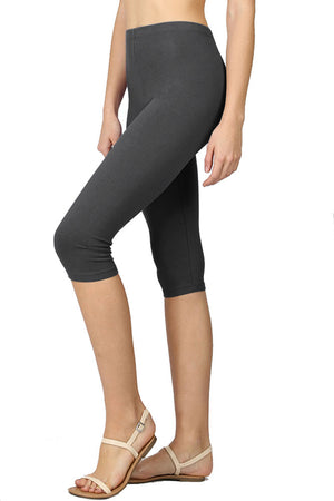 High Waist Seamless Cotton Capri Leggings leggings- Niobe Clothing