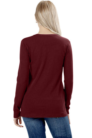 Womens Cotton Long Sleeve Crew Neck Shirt Tops- Niobe Clothing