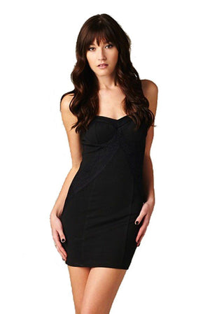 Sweetheart Neckline Textured Fitted Sleeveless Knit Lace Dress (Black)-dress-Niobe Clothing
