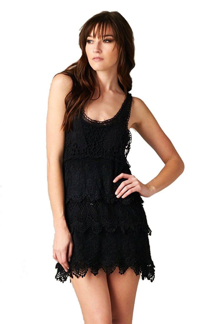 Textured Layered Sleeveless Scallop Crochet Lace Dress (Black) Rompers- Niobe Clothing