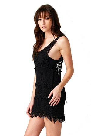 Textured Layered Sleeveless Scallop Crochet Lace Dress (Black)-Rompers-Niobe Clothing