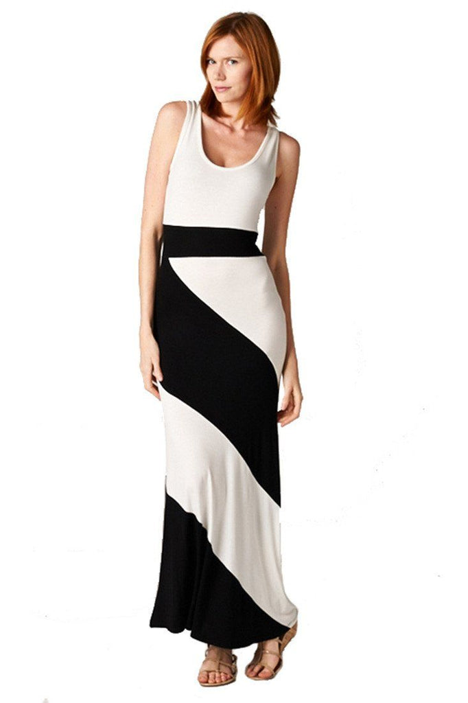 Panel Print Colorblock Knit Scoop Neck Jersey Maxi Dress (Black) - Niobe Clothing