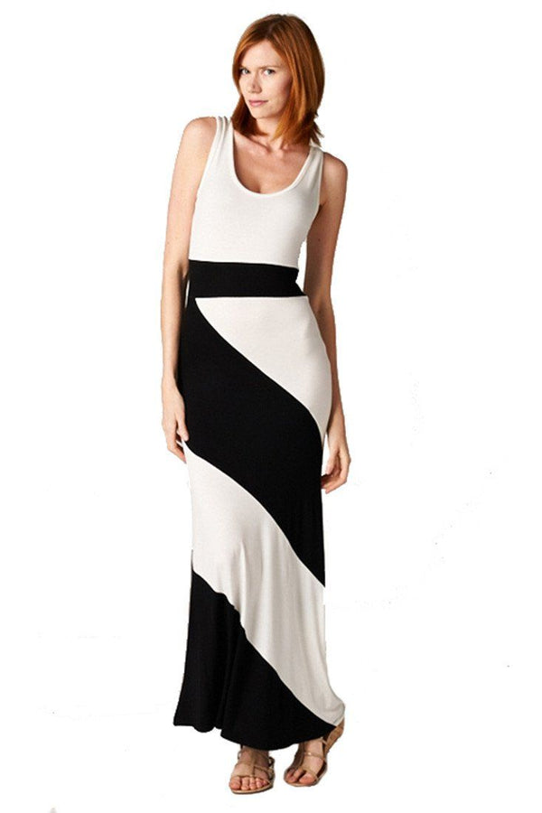 Panel Print Colorblock Knit Scoop Neck Jersey Maxi Dress (Black) dress- Niobe Clothing