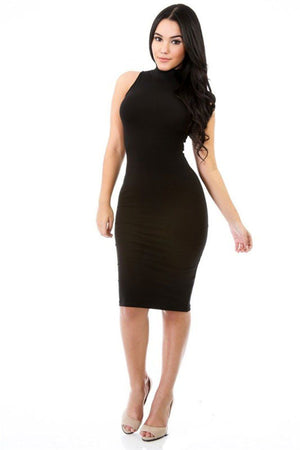 Cotton Spandex Turtle Neck Sleeveless Solid Mini Dress (Black) dress- Niobe Clothing