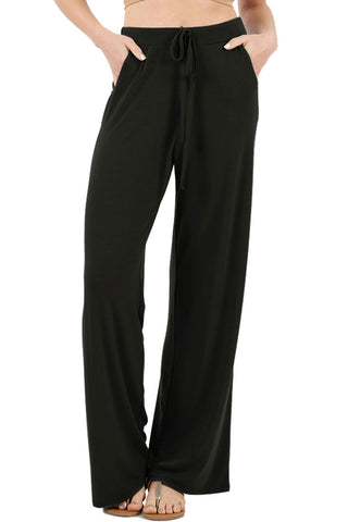 Solid Modal Rayon High Waist Wide Leg Palazzo Pants in Black