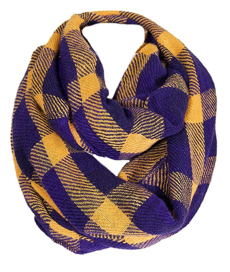 Soft Classic Blue Checkered Plaid Infinity Loop Scarf Scarves- Niobe Clothing