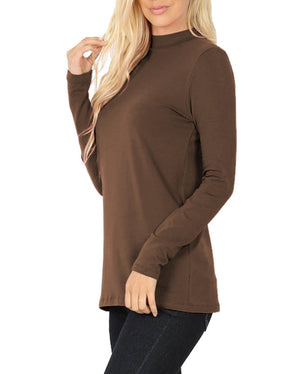 Womens Long Sleeve Cotton Mock Neck Top