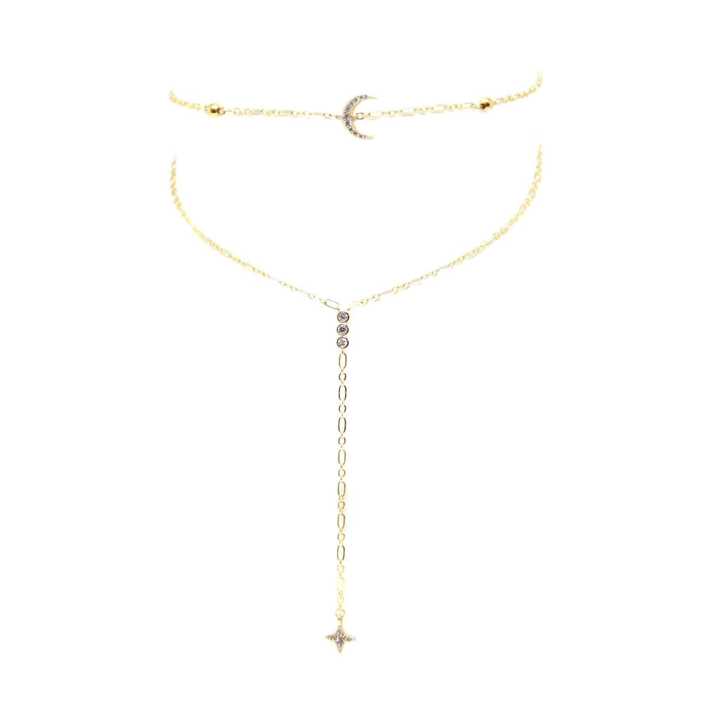 Bali Choker with Moon in Gold