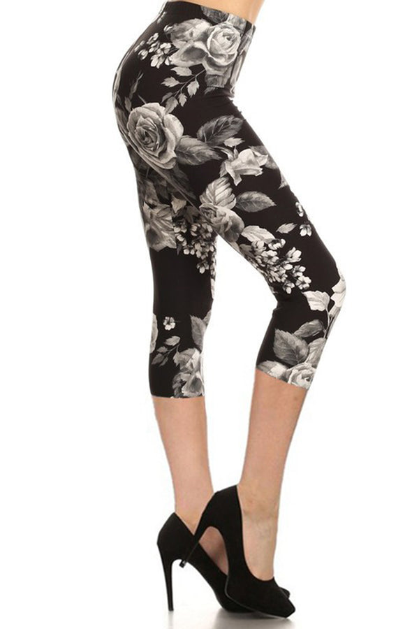 White Rose Plus Size Capri Leggings leggings- Niobe Clothing