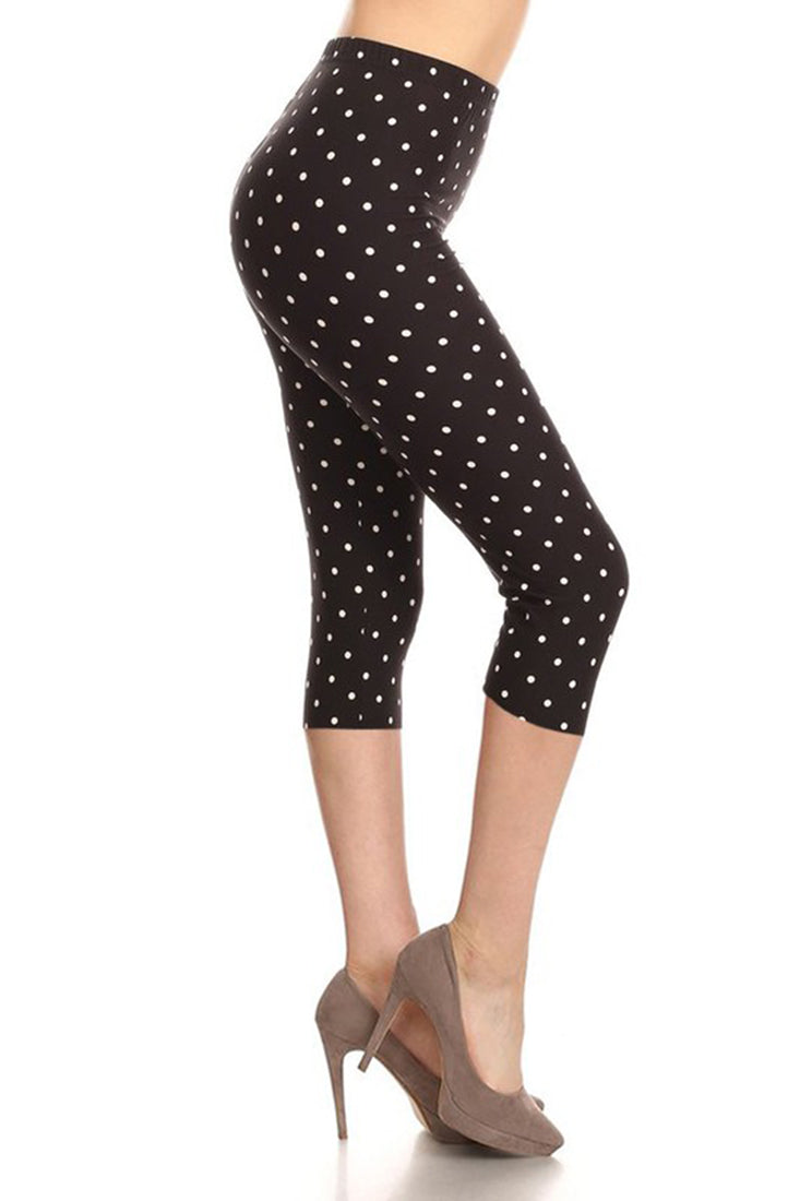 Black White Polka Dot Plus Size Capri Leggings leggings- Niobe Clothing