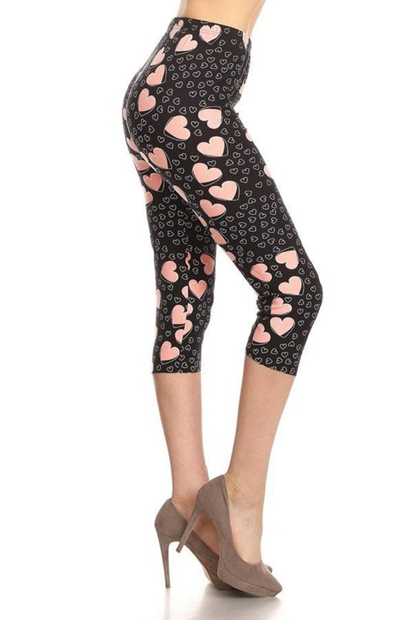 Hearts Plus Size Capri Leggings leggings- Niobe Clothing