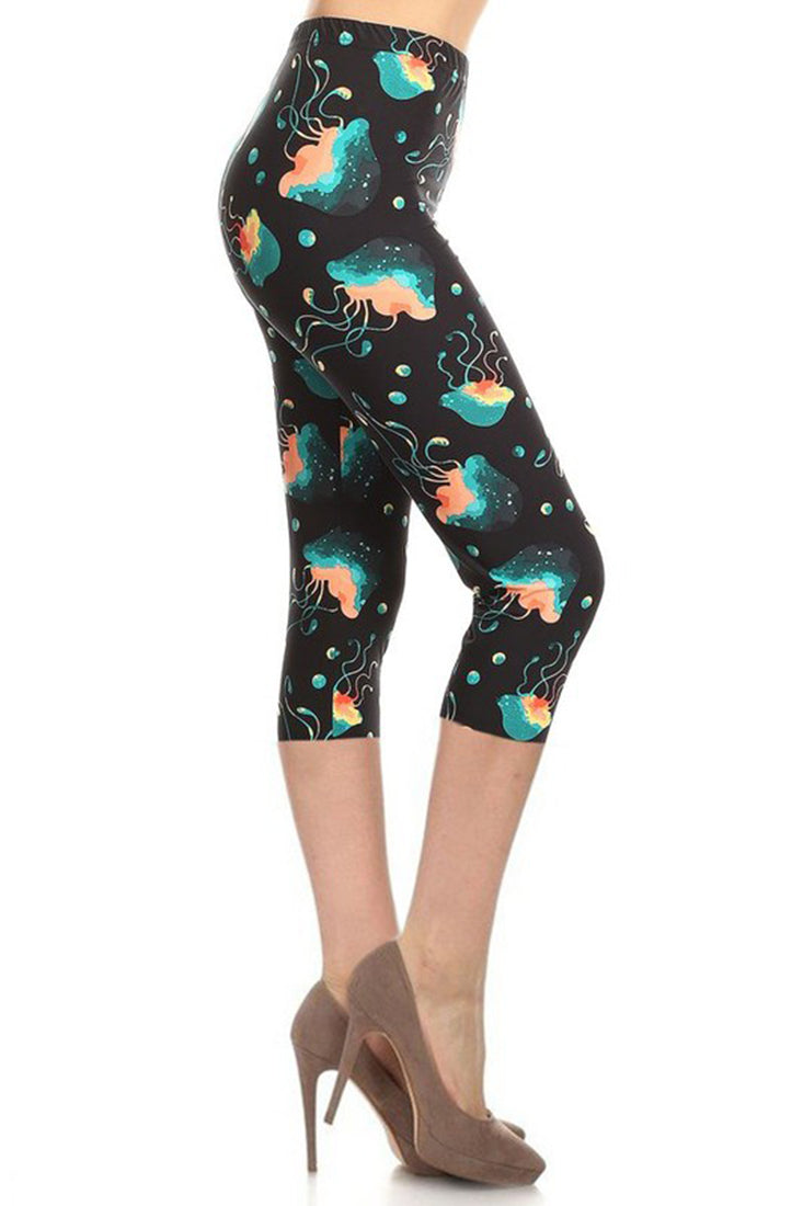 Multi Jellyfish Plus Size Capri Leggings-leggings-Niobe Clothing