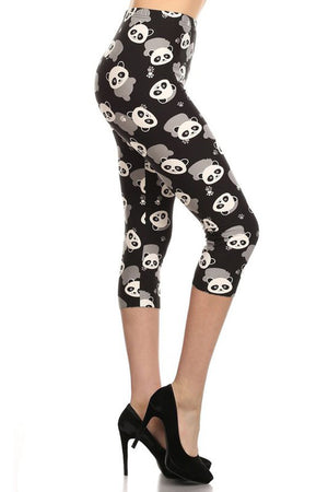 Panda Plus Size Capri Leggings leggings- Niobe Clothing