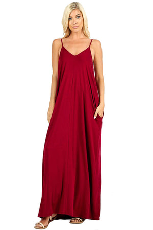 V-Neck Cami Spaghetti Strap Maxi Dress-dress-Niobe Clothing