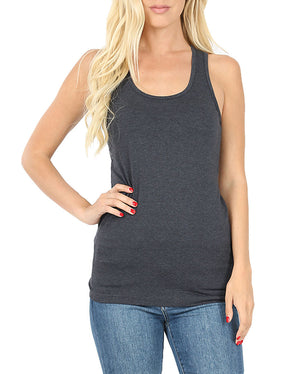 Basic Solid Cotton Racerback Tank Top-Tops-Niobe Clothing