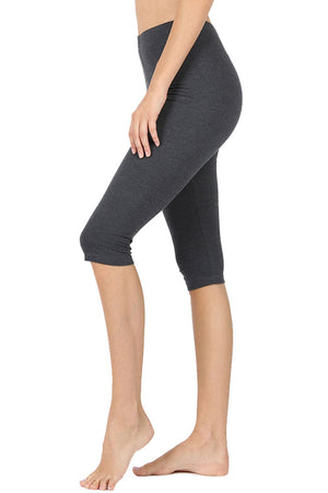 High Waist Seamless Cotton Capri Leggings