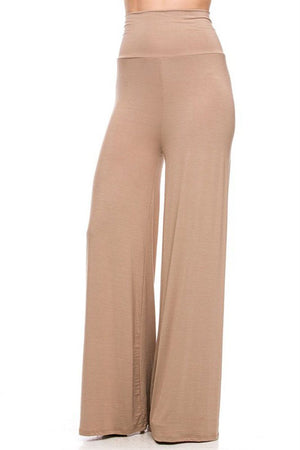 Solid Modal Rayon High Waist Wide Leg Palazzo Pants pants- Niobe Clothing