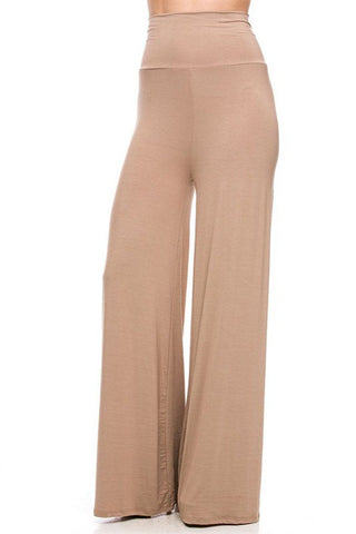 Solid Modal Rayon High Waist Wide Leg Palazzo Pants in Cocoa